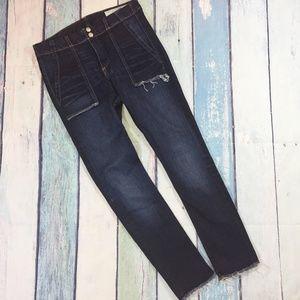 Rag & Bone High Waist Frayed Hem Skinny Jeans 27